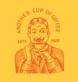 man holds a mug coffee logo and emblem vector image vector image