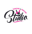 manicure studio nail master logo beauty vector image