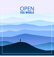 minimalistic mountain landscape silhouettes open vector image vector image