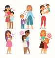 mother and children kids with flower bouquet love vector image vector image