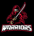 ninja warrior mascot hold sword vector image vector image