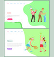 people playing tennis and golf activity vector image