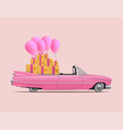 retro cartoon pink car roadster with full saloon vector image vector image