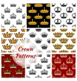 Royal king crown patterns set vector image