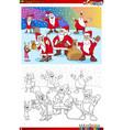 santa claus christmas characters coloring book vector image vector image