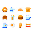 set breakfast icon flat color style symbols vector image