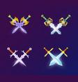 set of crossed medieval swords vector image vector image