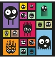 Set of funny monsters on bright background vector image