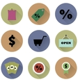 set of round icons for a shop vector image