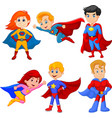 set superhero girl and boy with different pose vector image vector image