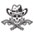 sheriff skull in cowboy hat with two crossed guns vector image vector image