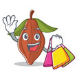 shopping cacao bean character cartoon vector image
