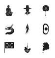 South Korea set icons in black style Big vector image vector image