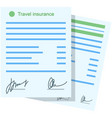travel insurance policy icon flat document vector image vector image