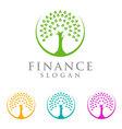 tree finance logo eco green logo vector image