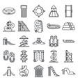 waterpark icons set outline style vector image vector image