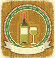 White wine bottle labelVintagel background on old vector image vector image