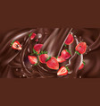 whole and sliced strawberries in liquid chocolate vector image vector image
