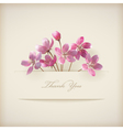 Floral spring Thank you pink flowers card vector image