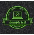 retro label with laptop icon vector image