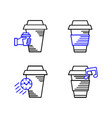 line art icon coffee cup icon food outlin drink vector image