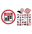 2016 Calendar Grid Flat Icon with Bonus vector image vector image