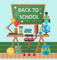 back to school banner chalkboard and pupil table vector image vector image