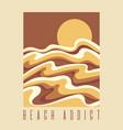 beach addict hand drawn stylised vector image