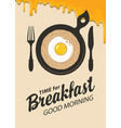 breakfast banner with pasta fried egg and cutlery vector image