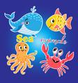 bright set with sea animals vector image