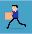 businessman running with box vector image