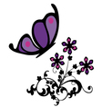 butterfly with flowers vector image vector image