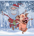 cartoon pig and santa claus happily jumping vector image