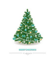 christmas tree traditionally decorated realistic vector image vector image