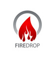 circle fire water drop logo concept design symbol vector image vector image