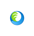 circle water wave technology logo vector image vector image