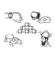 coffee set line art sketch vector image vector image