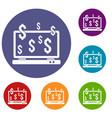 computer monitor and dollar signs icons set vector image vector image