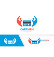 credit card and people logo combination vector image