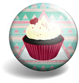 Cupcake on the badge vector image