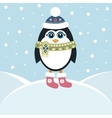 Cute penguin in winter vector image