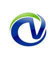 cv letter initials blue circle green swoosh symbol vector image vector image