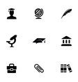 education 9 icons set vector image