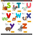 educational cartoon alphabet set for learning vector image vector image