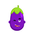 eggplant winks emotion avatar purple vegetable vector image