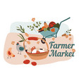 farmer market selling eggs and ripe vegetables vector image