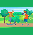 fashionable old senior man riding scooter in park vector image vector image