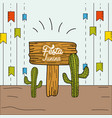 festa junina with party flags and cactuses vector image vector image