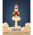 Flying rocket with cloud trail for startup design vector image vector image