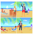 four colorful posters with businessmans on beach vector image vector image